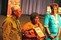 Aidoo accepting Flora Nwapa Award